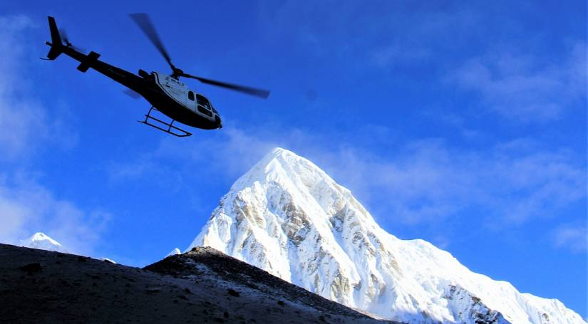 Helicopter Flight from Everest Base Camp