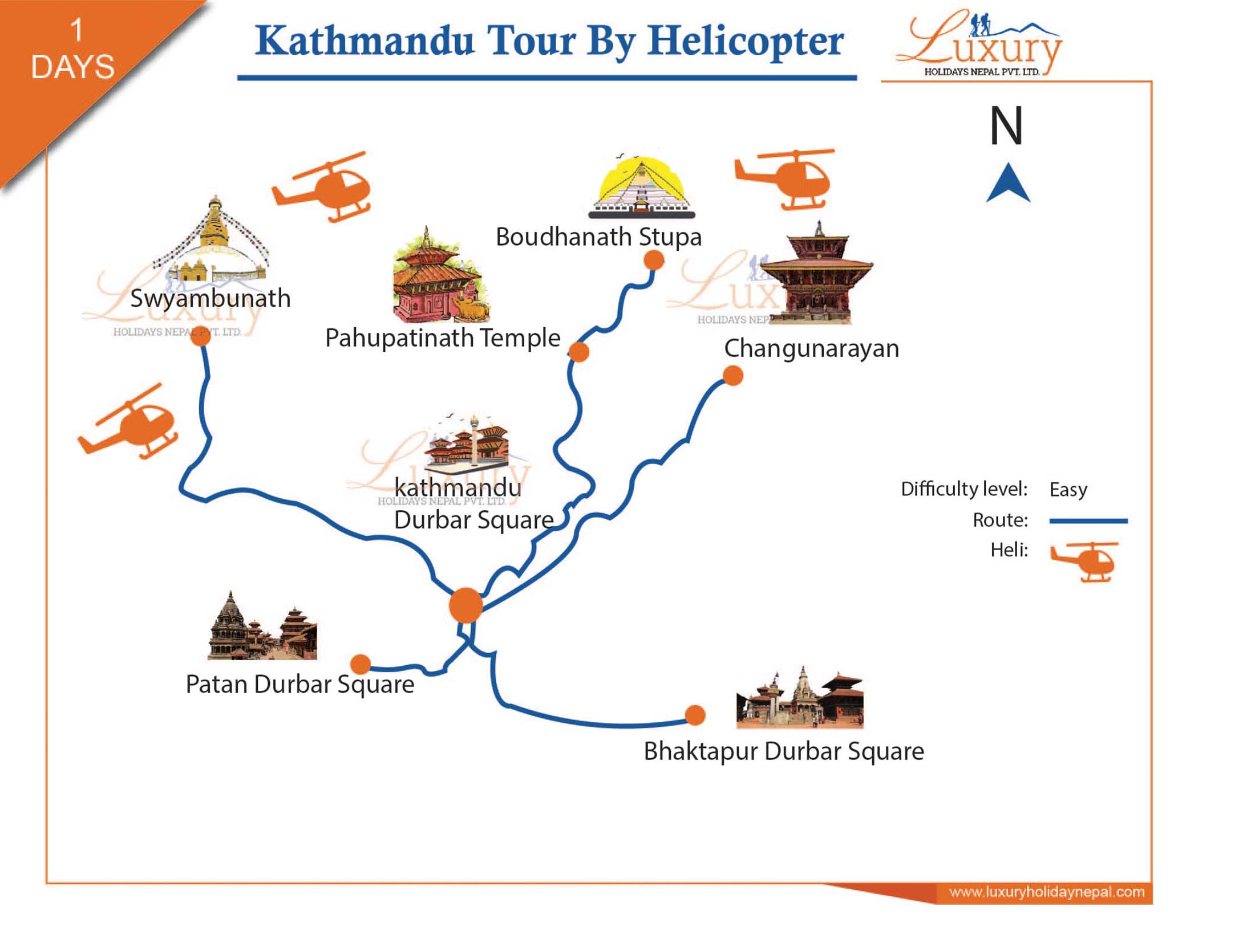 Kathmandu tour by Helicopter Trip Map