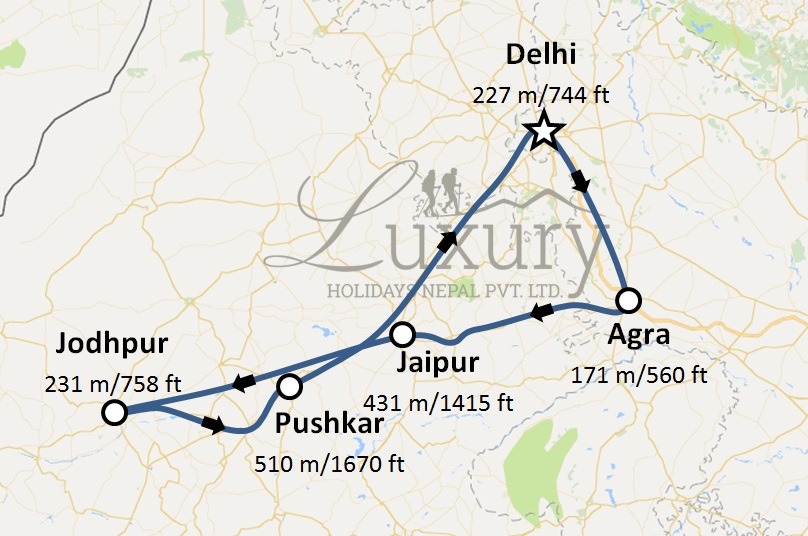 Golden Triangle With Pushkar Trip Map