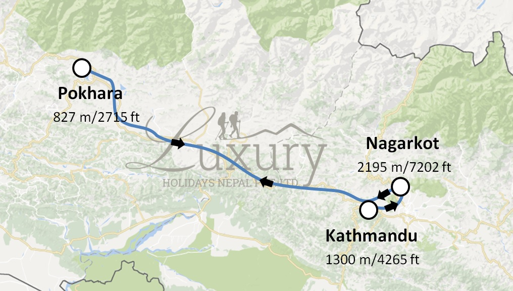 Beauty of Nagarkot, Pokhara and Kathmandu Trip Map