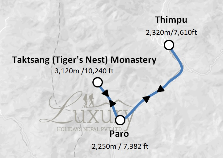 Glimpses of Bhutan Tour Trip Map