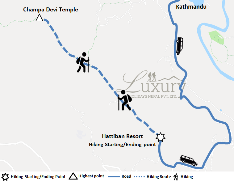 Day hike to Champadevi Hill from Kathmandu Trip Map