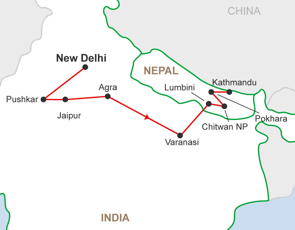 15 days India and Nepal Tour Trip Map
