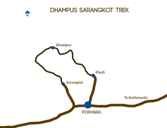 Dhampus Sarangkot trek Trip Map