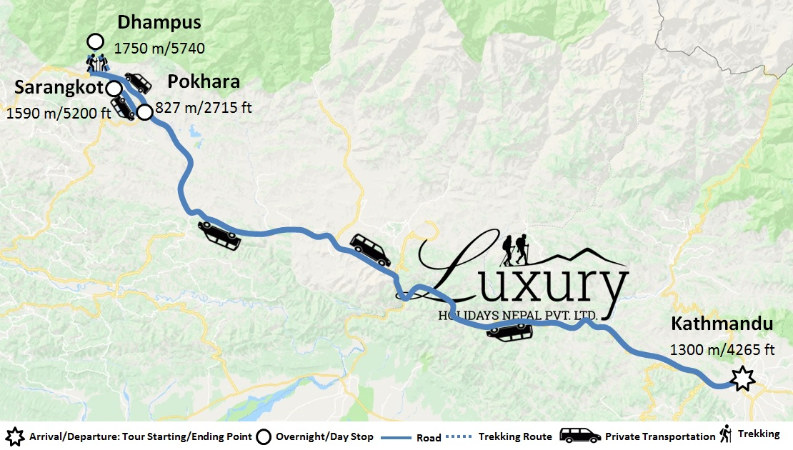Luxury Dhampus-Sarangkot Trek with City Tour Trip Map
