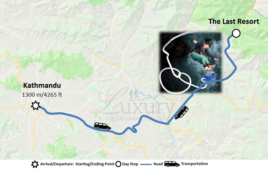 Bungee Jumping in Nepal Trip Map