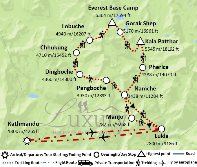 Luxury Everest Base Camp Trek Trip Map