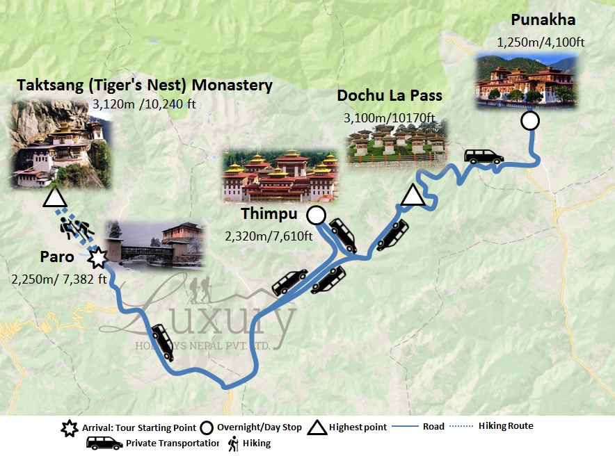 Majestic Bhutan: A Seven Day Luxury Bhutan Tour Trip Map