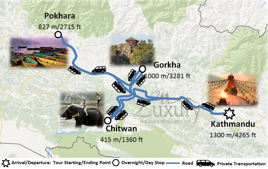 Experience Scenic Nepal Tour with 5 star stay Trip Map