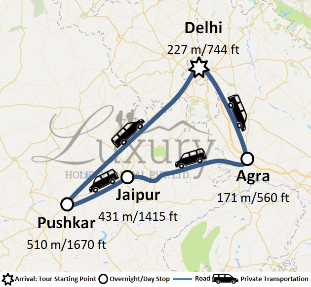 9 Days Golden Triangle With Pushkar Trip Map