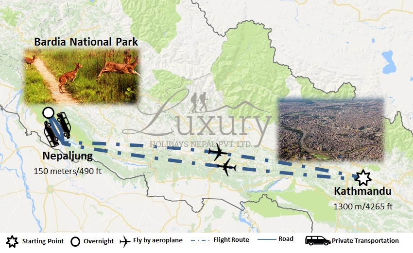 Bardia Jungle Safari Trip Map