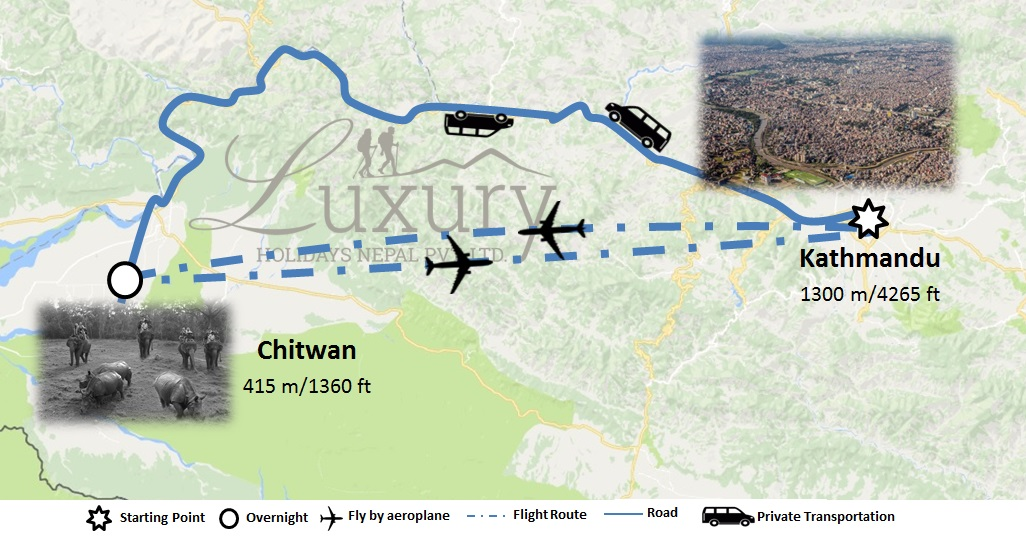 2 nights 3 days Chitwan Jungle Safari Trip Map