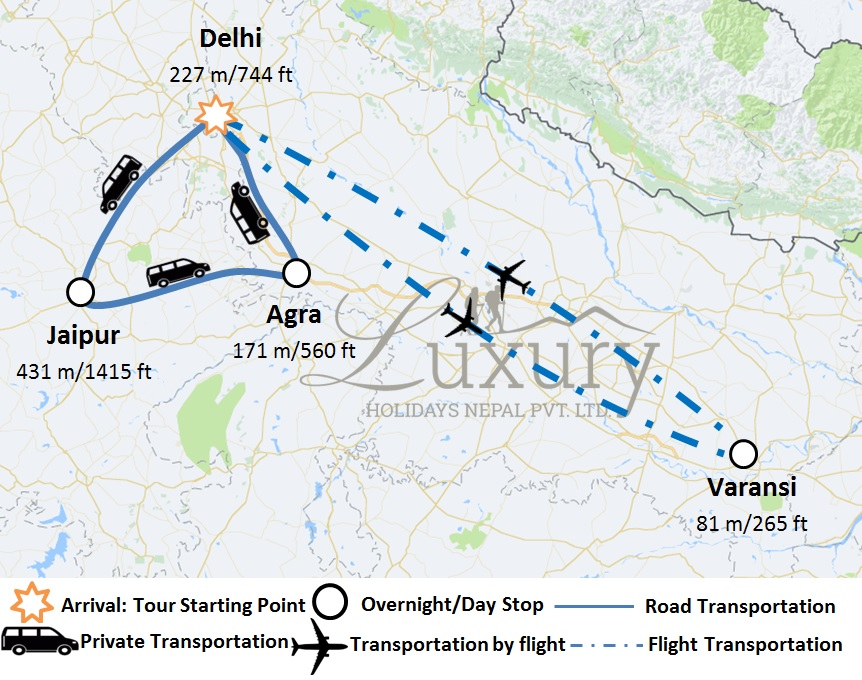 Golden Triangle with Varanasi Trip Map