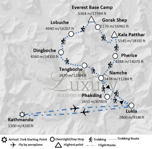 Breathtaking Experience of Everest Base Camp Trek with 5 star accommodation in Kathmandu Trip Map