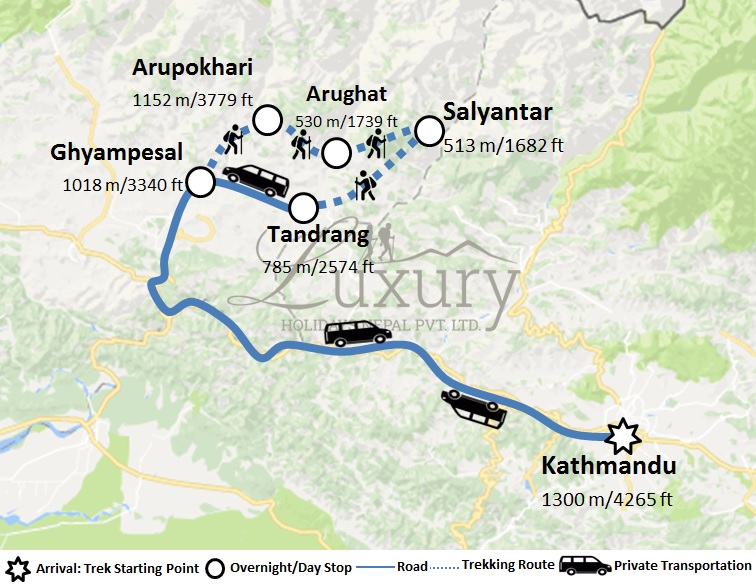 Home Stay Trek Trip Map