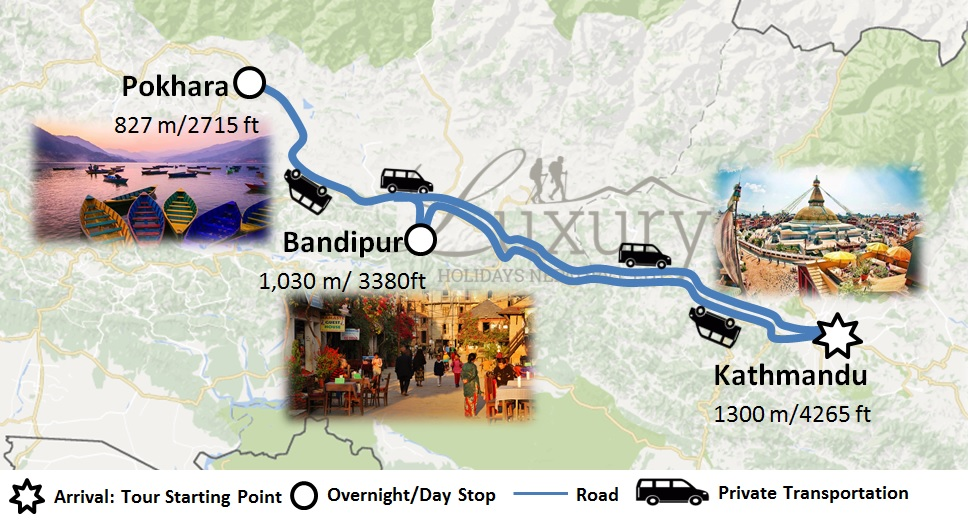 Nepal Magical Tour Trip Map