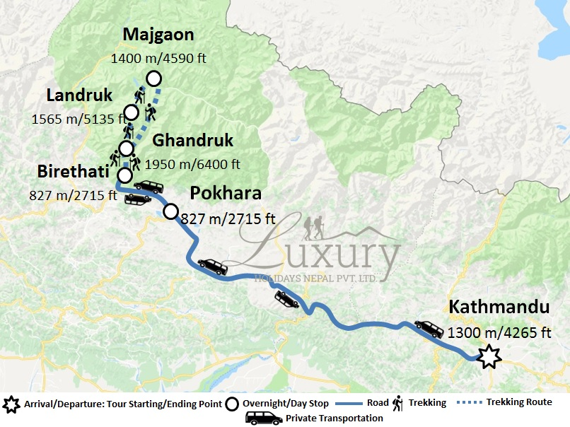 Luxury Classical Ghandruk Majgaon Trek Trip Map