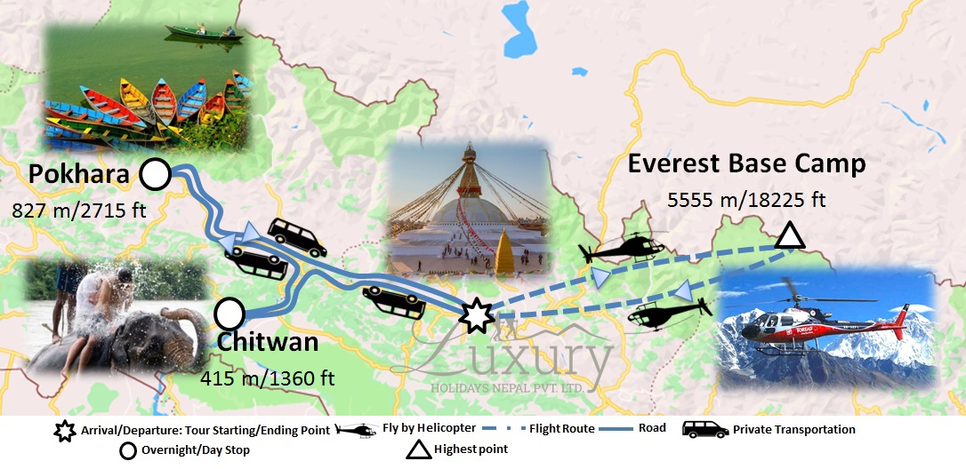 Luxury Holidays in Nepal with Everest Helicopter tour Trip Map