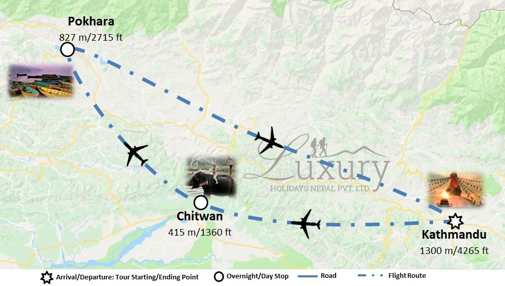 Luxury Nepal tour with domestic flights Trip Map