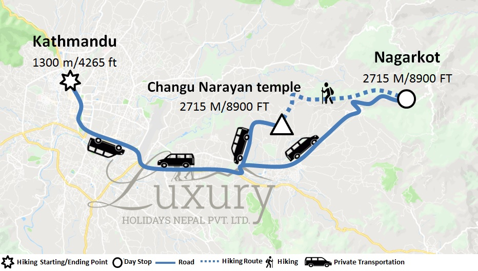 Nagarkot Changunarayan Hiking Trip Map