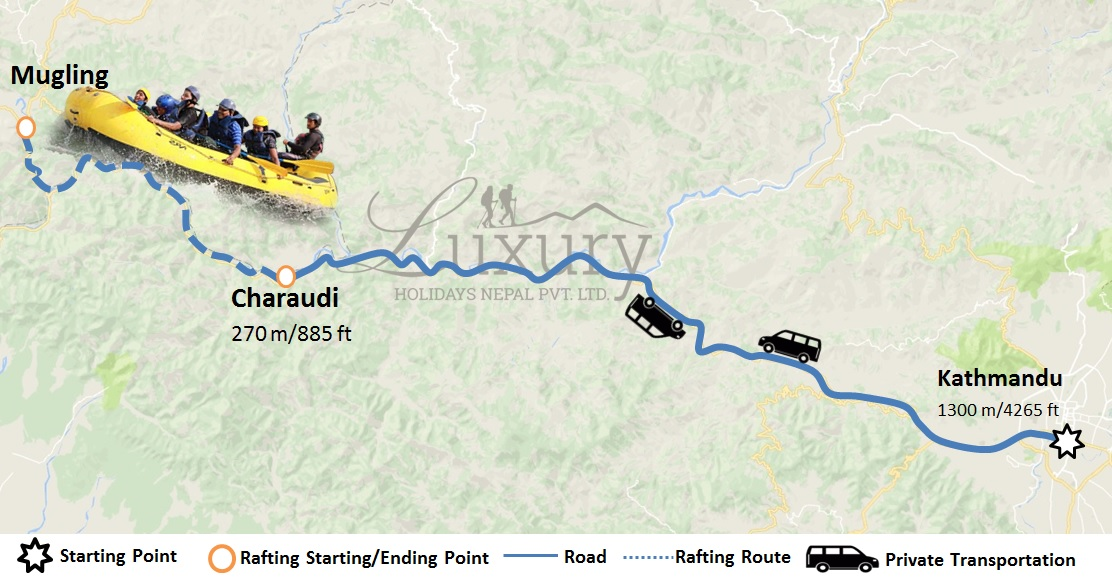 Rafting at Trishuli River Trip Map