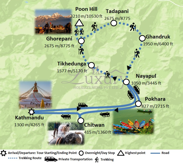 Luxury Ghorepani Poonhill Trek with Jungle Safari Trip Map