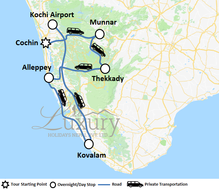 KERALA THE GOD's OWN COUNTRY Trip Map